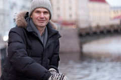 Mature man n St. Petersburg, Russia in winter Stock Image