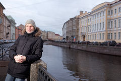 Mature man n St. Petersburg, Russia in winter Stock Photography