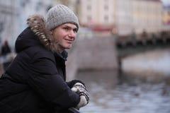 Mature man n St. Petersburg, Russia in winter Royalty Free Stock Photo