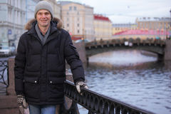 Mature man n St. Petersburg, Russia in winter Royalty Free Stock Image