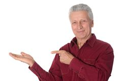 Mature man pointing with his finger Royalty Free Stock Image