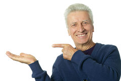 Mature man pointing Royalty Free Stock Photography