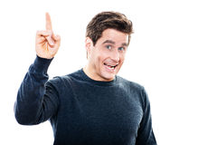 Mature man pointing up portrait Stock Photography