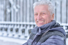 Mature man portrait. Close up, outdors in winter Royalty Free Stock Photos
