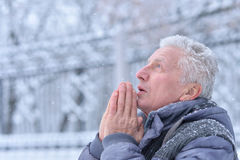 Mature man portrait close up. Outdors in winter Stock Photo