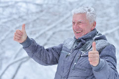 Mature man portrait. Close up, outdors in winter Royalty Free Stock Image