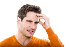 Mature  man portrait headache Royalty Free Stock Photos