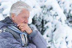 Mature man posing outdoors Stock Photos