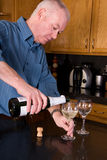 Mature man pouring wine. Royalty Free Stock Images
