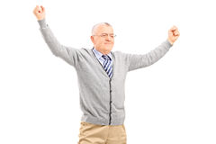 Mature man raising his hands out of joy Royalty Free Stock Images