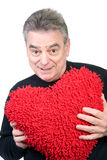 Mature Man With Red Heart Stock Image