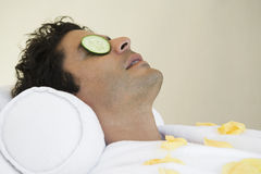 Mature Man Relaxing At Spa Royalty Free Stock Image