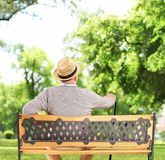 Mature man resting on a wooden bench in park Stock Image