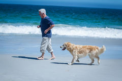 Mature man running next to his dog Stock Images