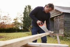 Mature Man Sawing Wood Outdoors Stock Images