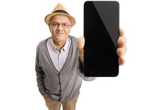 Mature man showing a phone Royalty Free Stock Photo
