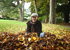Mature man sitting in a pile of autumn leaves. Royalty Free Stock Photo