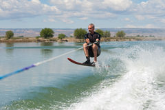 Mature Man Slalom Water Skiing stock images
