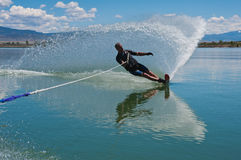 Mature Man Slalom Water Skiing Royalty Free Stock Image