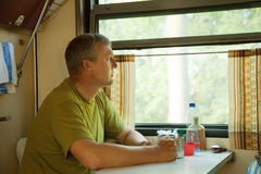 Mature man in sleeper train Royalty Free Stock Photos