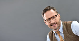 Mature man smiling isolated Stock Photos