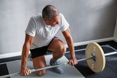 Mature man exercising with weights at the gym stock photo
