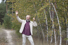 Mature man stand near yellow birch Stock Images