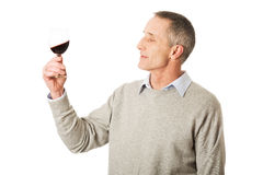 Mature man tasting red wine. Handsome mature man tasting red wine Royalty Free Stock Photo