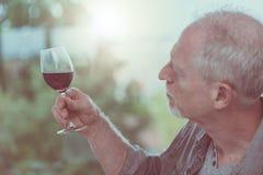Mature man tasting red wine. Senior man tasting red wine royalty free stock image