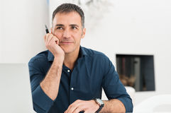 Mature Man Thinking Stock Photos