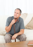 Mature man thoughtful Royalty Free Stock Photo