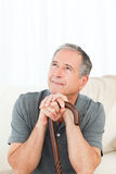 Mature man thoughtful Royalty Free Stock Image