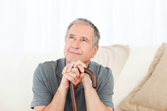 Mature man thoughtful Royalty Free Stock Photos