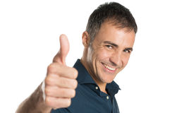 Mature Man Thumb Up Sign Royalty Free Stock Photos
