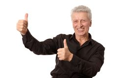 Mature man with thumb up Stock Photography