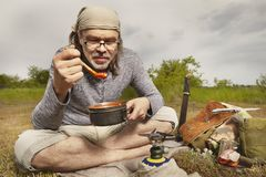 Man on trip relaxing and taking break in nature royalty free stock photography