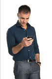 Mature Man Using Cell Phone Royalty Free Stock Photo