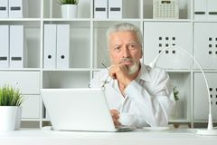 Mature man using laptop. Sitting near window Royalty Free Stock Photography