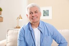Mature man using video chat at home stock image