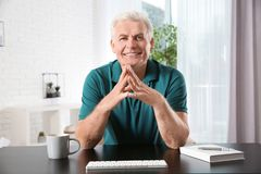 Mature man using video chat, view from web camera royalty free stock photography