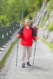 The mature man walks with poles on mountain trail Stock Photo