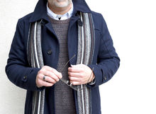 Mature Man Wearing A Navy Blue Winter Coat Royalty Free Stock Photos