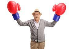 Mature man wearing a pair of big boxing gloves flexing his bicep. S isolated on white background Stock Photography