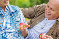 Mature man and woman caring of their health royalty free stock photos