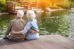 Mature man and woman enjoying nature royalty free stock photos
