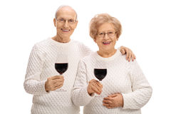 Mature man and woman with glasses of wine Stock Photo