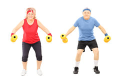 Mature man and woman working out with dumbbells royalty free stock photos