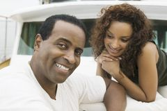 Mature Man With Woman On Yacht Royalty Free Stock Photography