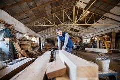 A man worker in the carpentry workshop, working with wood. Royalty Free Stock Photography