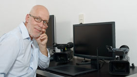 Mature man working with his computer Stock Photo